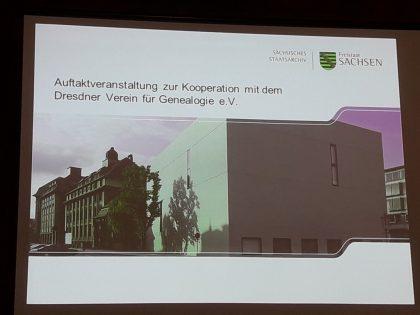 Auftaktveranstaltung zur Kooperation mit dem Dresdner Verein für Genealogie e.V.